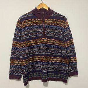 Vintage Zip Up Knit Sweater size L